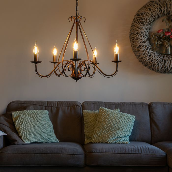 Classic-chandelier-rust-brown-5-light---Giuseppe-5