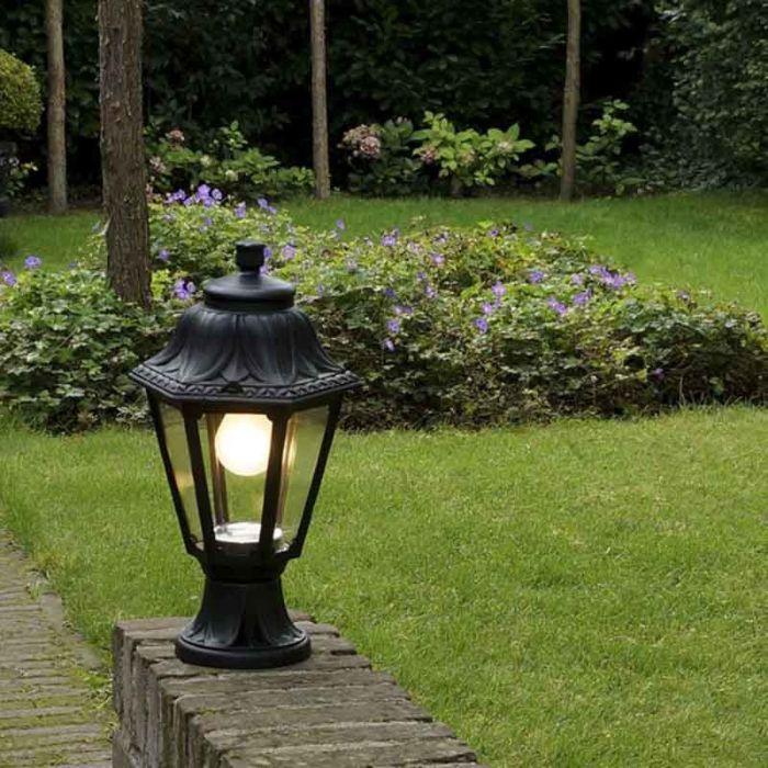 Country-Outdoor-Pedestal-Lantern-Lamp-Black-IP44---Anna