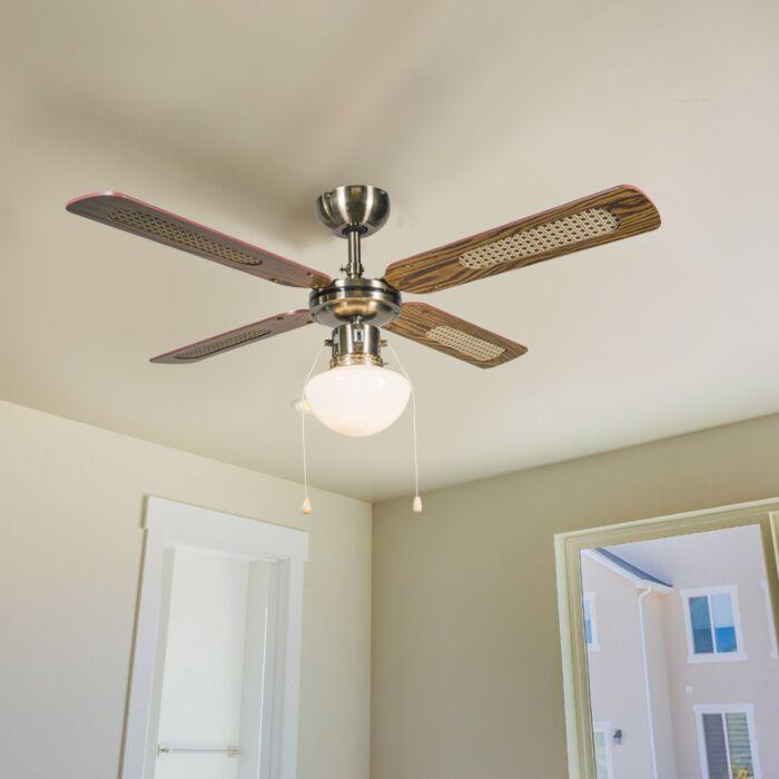 Industrial-ceiling-fan-with-lamp-100-cm-wood---Wind