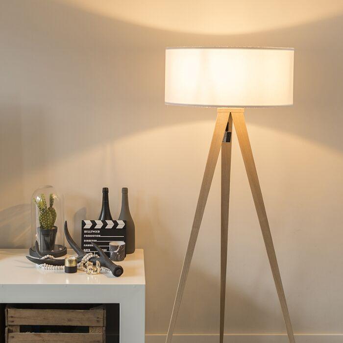 Modern Floor Lamp Wood With White Shade Tripe Lampandlight