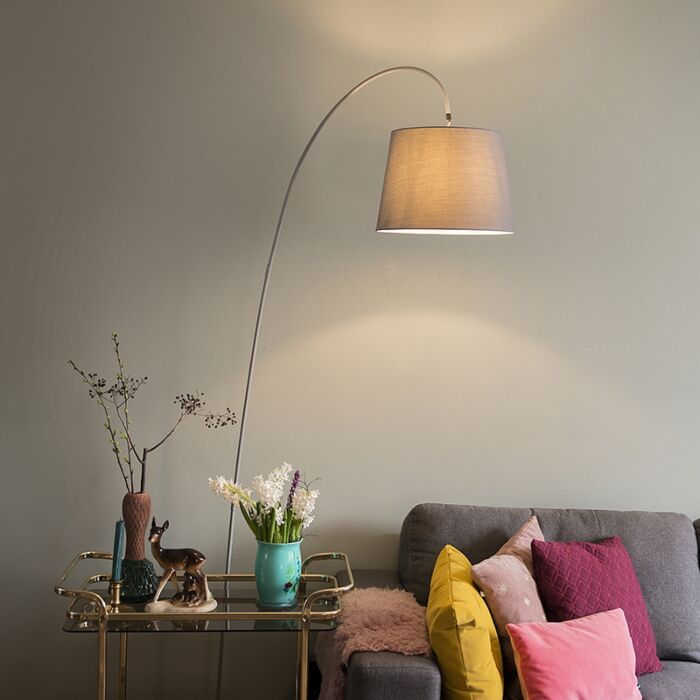 Modern-arc-lamp-with-gray-shade-Bend