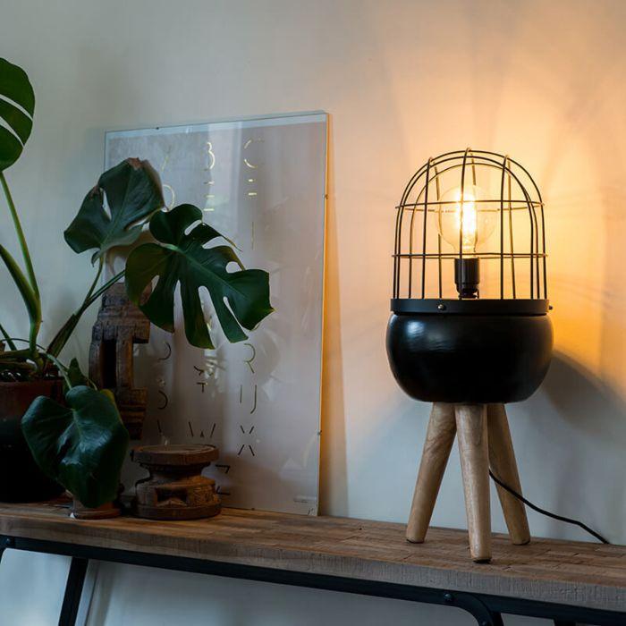 Modern-Table-Lamp-Tripod-Wood-with-Black---Birds
