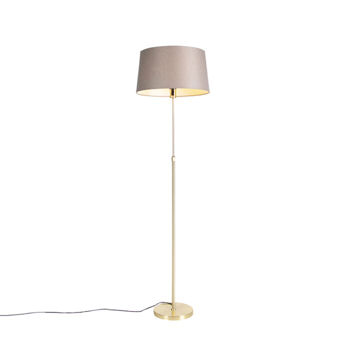 Floor Lamp Gold Brass With 45cm Taupe Linen Shade Parte Lampandlight