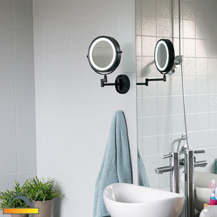 Design-bathroom-mirror-black-incl.-LED-adjustable-IP44---Vicino