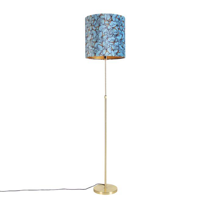 Floor-lamp-gold-/-brass-with-velor-shade-butterflies-40/40-cm---Parte