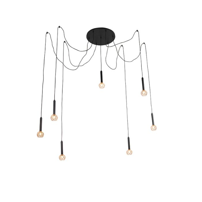 Hanging-lamp-black-with-copper-7-lights---Mesh