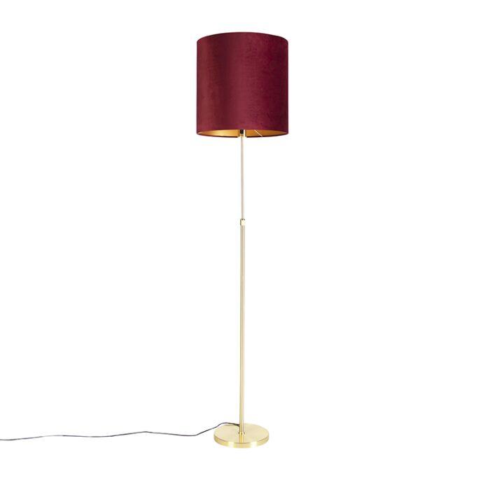 Floor-Lamp-Gold/Brass-with-40/40cm-Red-Velvet-Shade---Parte