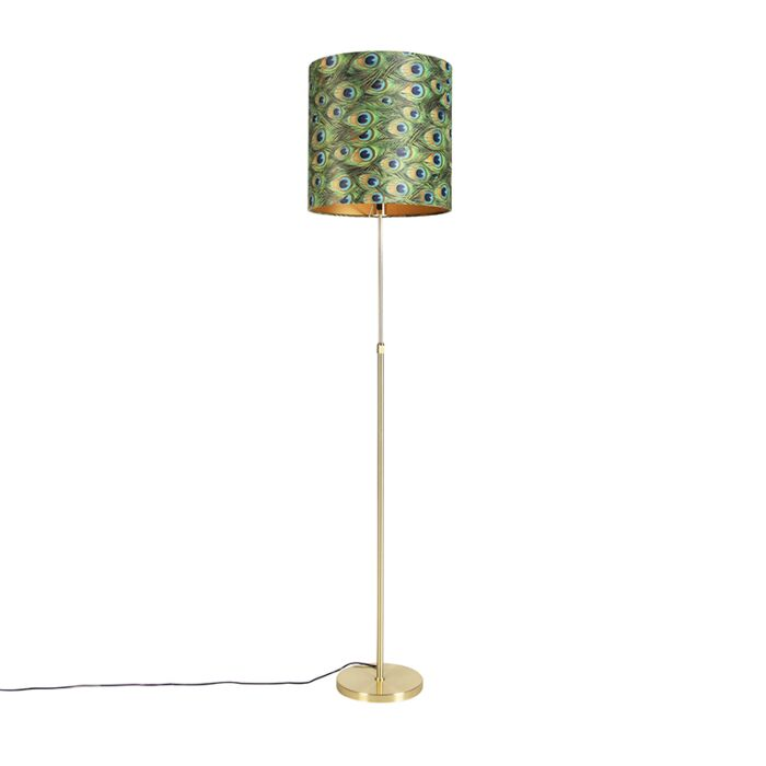 Floor-Lamp-Gold/Brass-with-40/40cm-Peacock-Print-Velvet-Shade---Parte