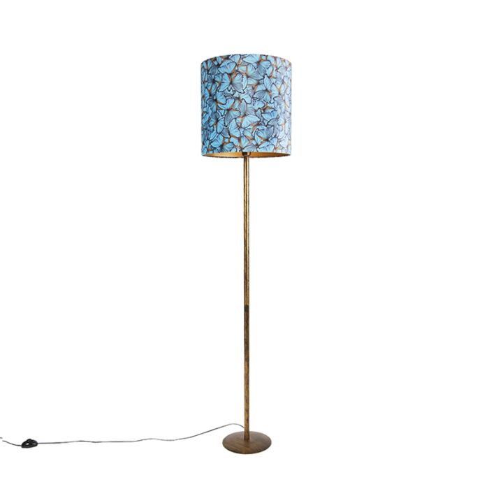 Botanical-floor-lamp-gold-with-butterfly-design-shade-40-cm---Simplo