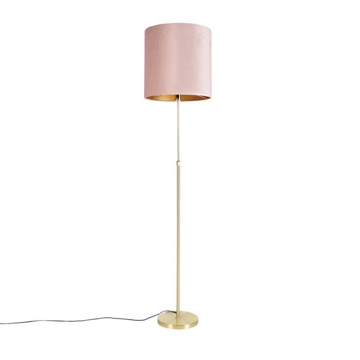 Floor-Lamp-Gold/Brass-with-40/40cm-Pink-Velvet-Shade---Parte