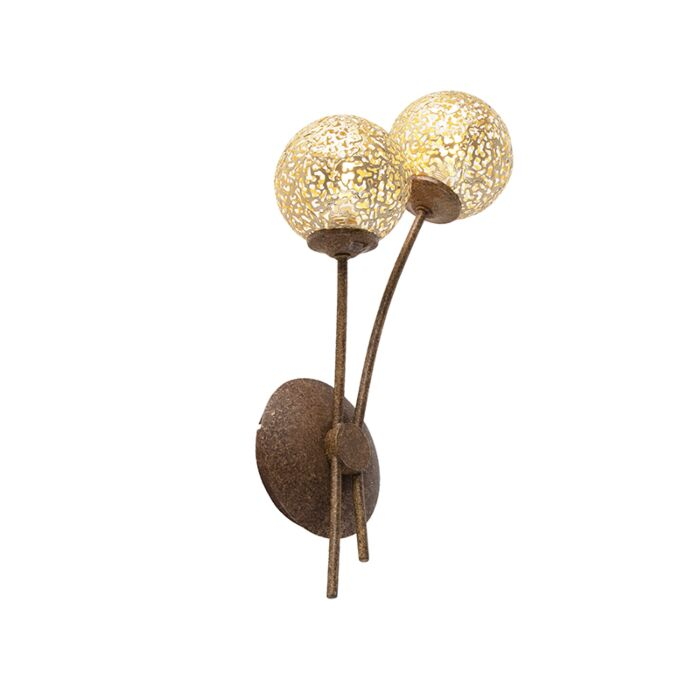 Rustic-brown-wall-lamp-with-2-light-switch---Crete