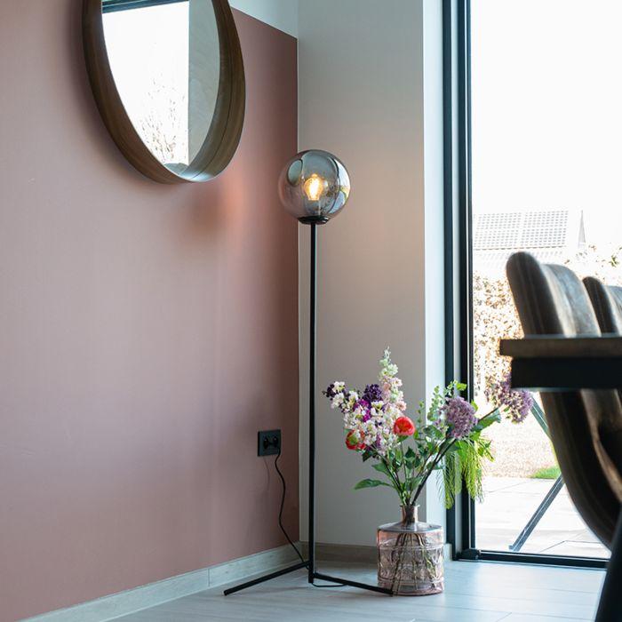 Art-deco-floor-lamp-black-with-smoke-glass---Pallon