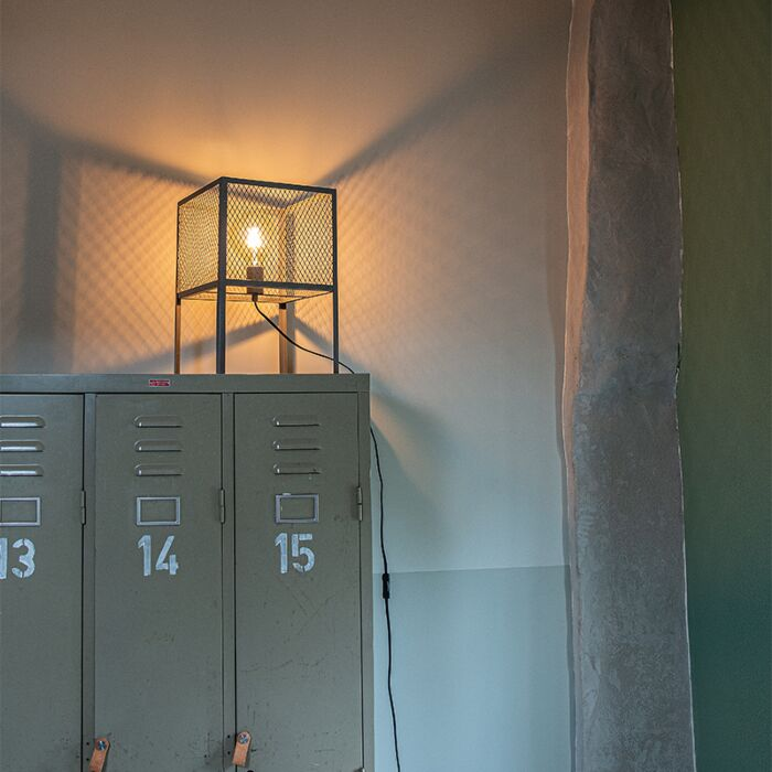 Industrial-table-lamp-antique-silver---Cage-Robusto