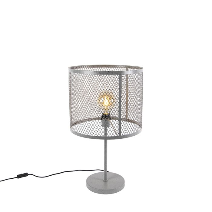 Industrial-round-table-lamp-antique-silver---Cage-Robusto