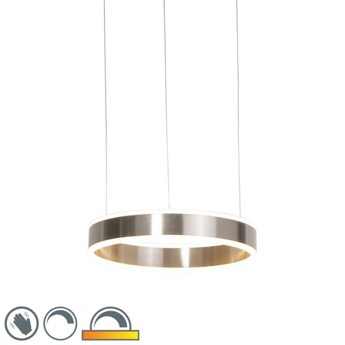 Modern-hanging-lamp-steel-incl.-LED-40-cm-dim-to-warm---Ollie