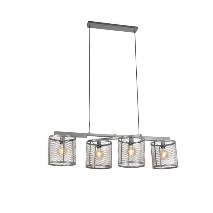 Industrial-hanging-lamp-antique-silver-4-light---Cage-Robusto