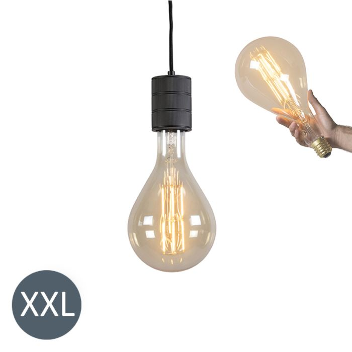 Pendant-Lamp-Splash-Black-with-Dimmable-LED-Bulb