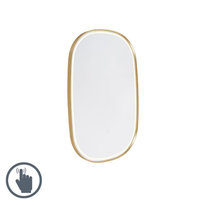 Oval Bathroom Mirror Gold Incl Led With Touch Dimmer Miral Lampandlight