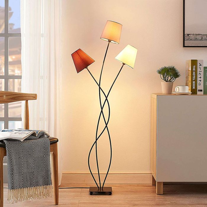 Modern Floor Lamp Black 3 Light Melis