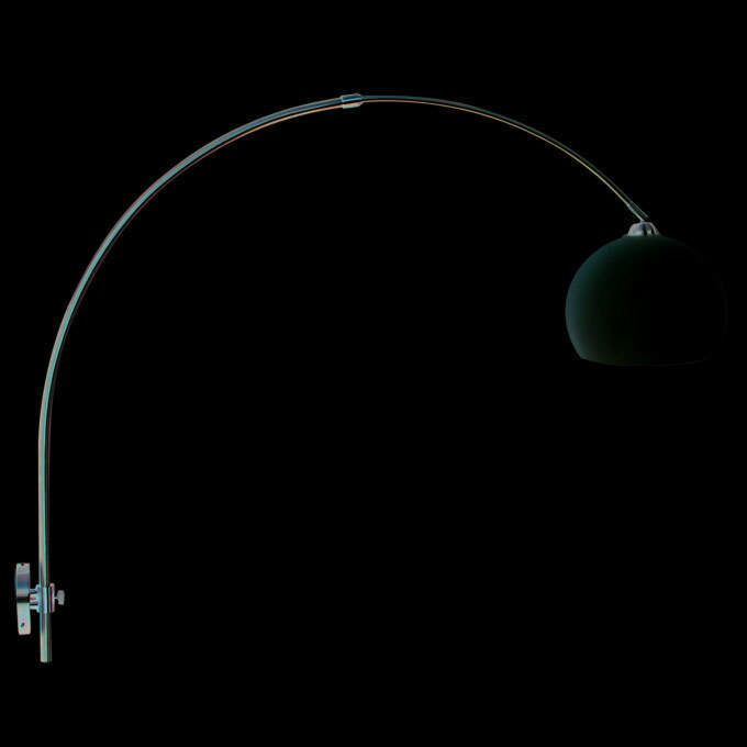 Wall-arc-lamp---steel-with-white-shade