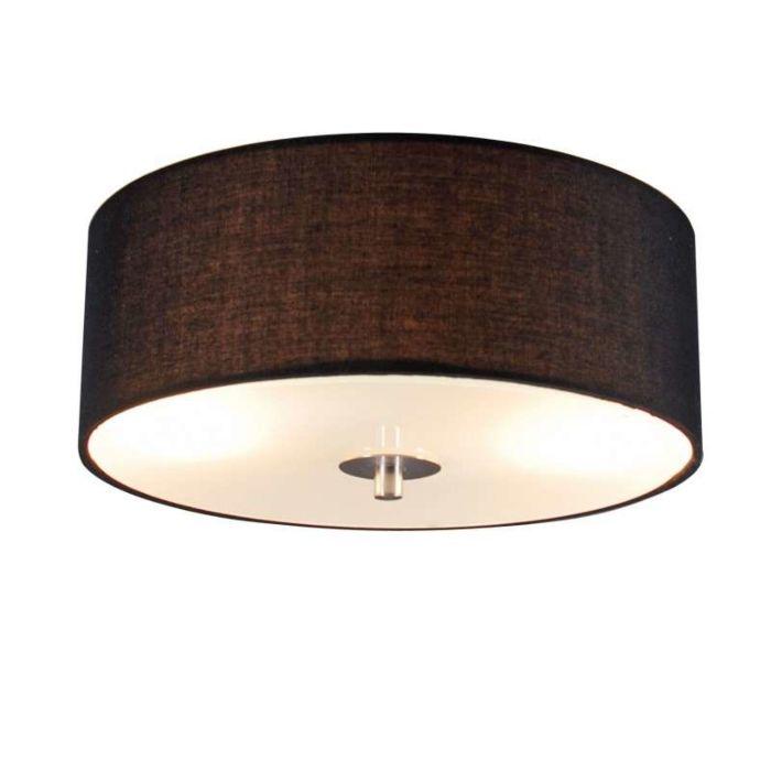 Country Ceiling Lamp Black 30 Cm Drum