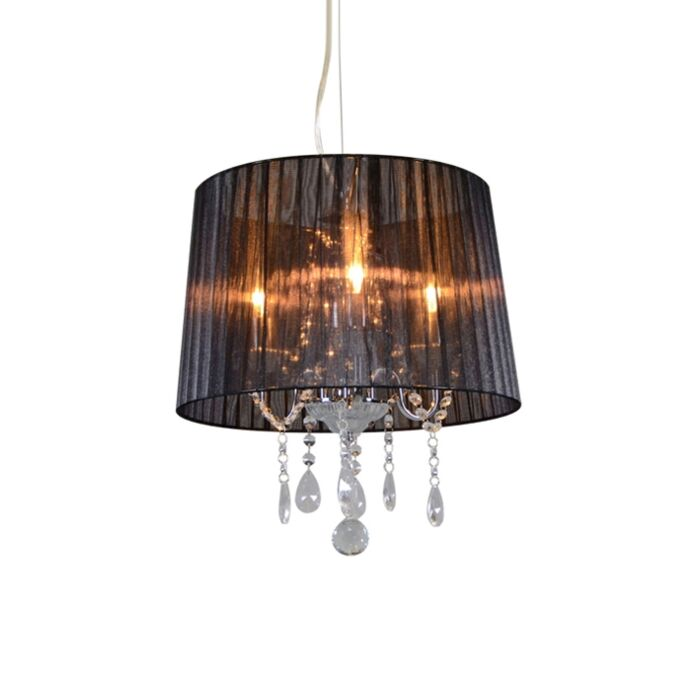 Classic-chandelier-chrome-with-black-shade---Ann-Kathrin-3