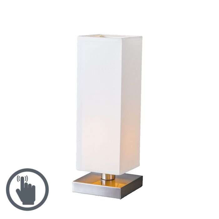 Table-Lamp-Tower-Touch-Steel-with-White-Shade