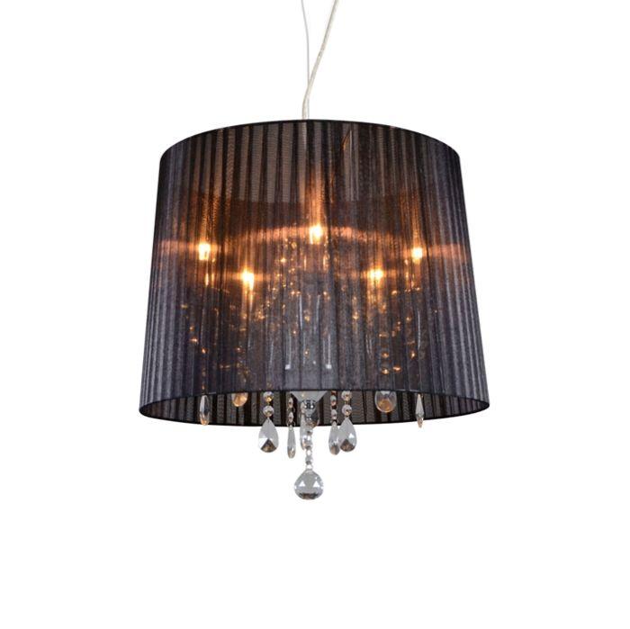 Classic-chandelier-chrome-with-black-shade---Ann-Kathrin-5
