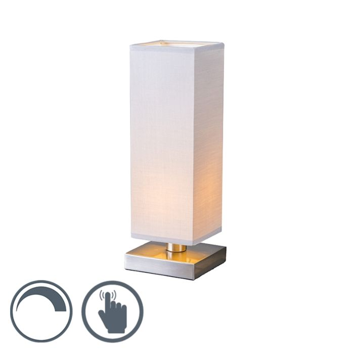 Table-Lamp-Tower-Touch-Steel-with-Grey-Shade