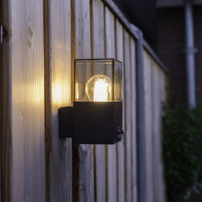 Exterior-wall-light-dark-gray-with-motion-detector-IP44---Denmark