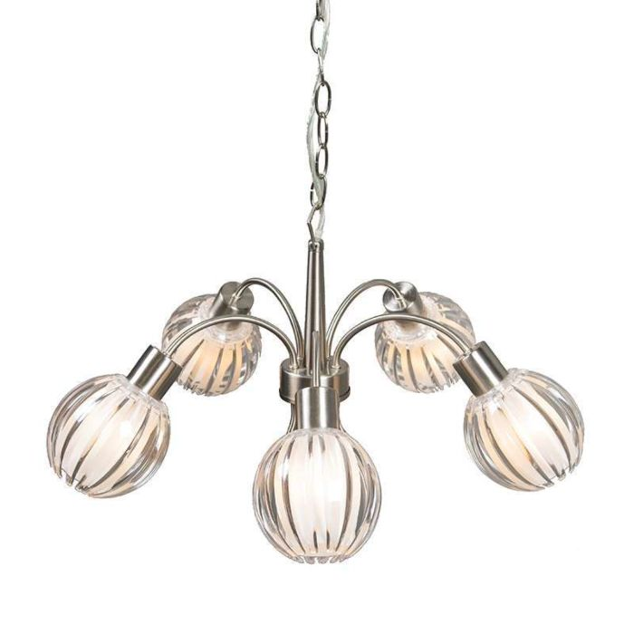 Pendant-Light-Shine-5-steel-with-clear-shades