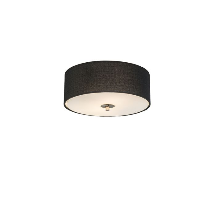 Ceiling Lamp Black 30 Cm Drum Jute