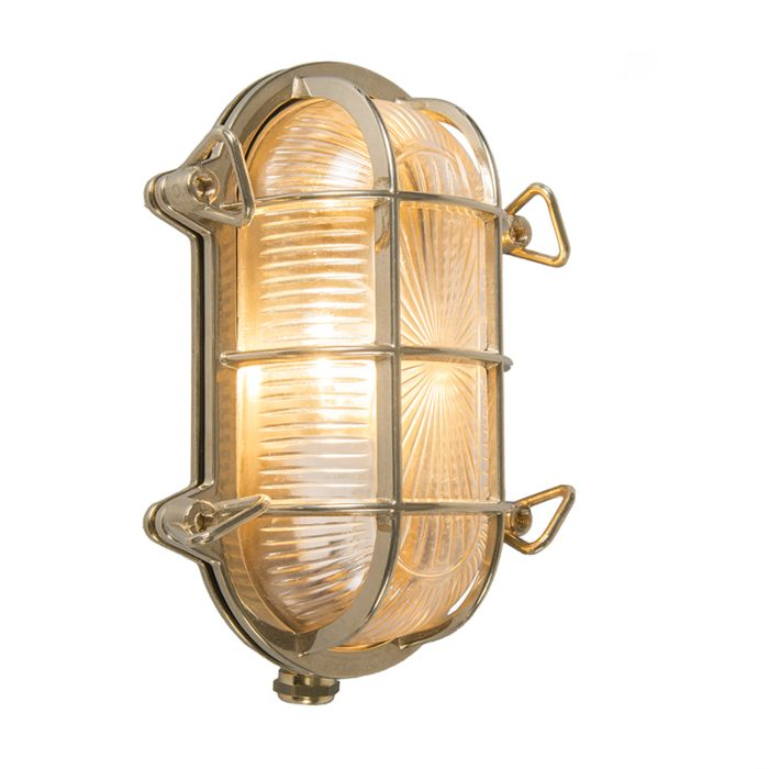 Wall-and-ceiling-light-gold-23-/-16.5-cm-IP44---Nautica-oval