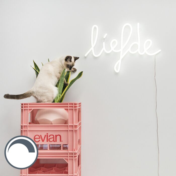 Wall-lamp-white-with-remote-control-incl.-LED---Neon-Love