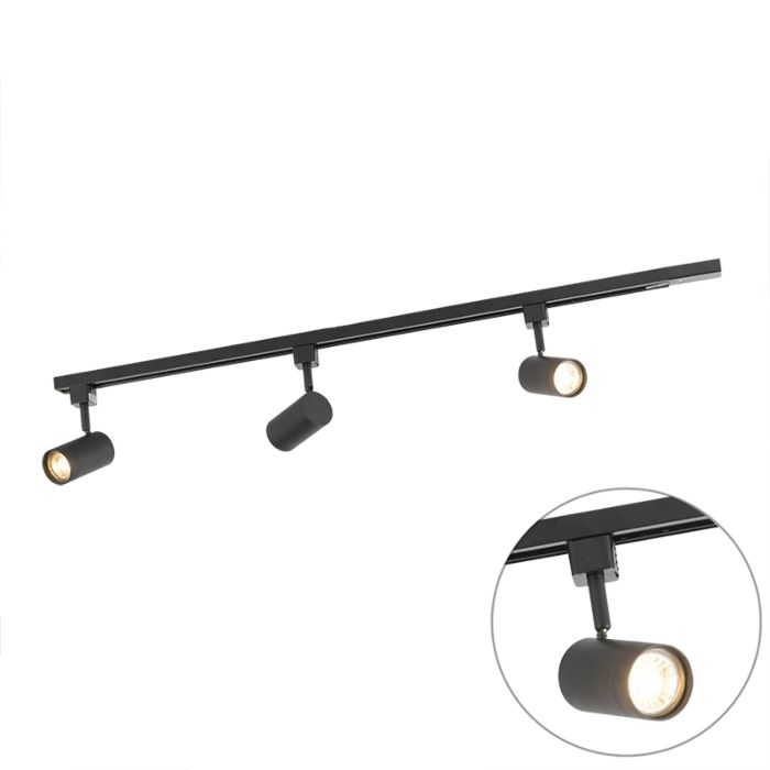 Modern-Track-Light-1-Phase-with-3-Spotlights-Black---Jeana