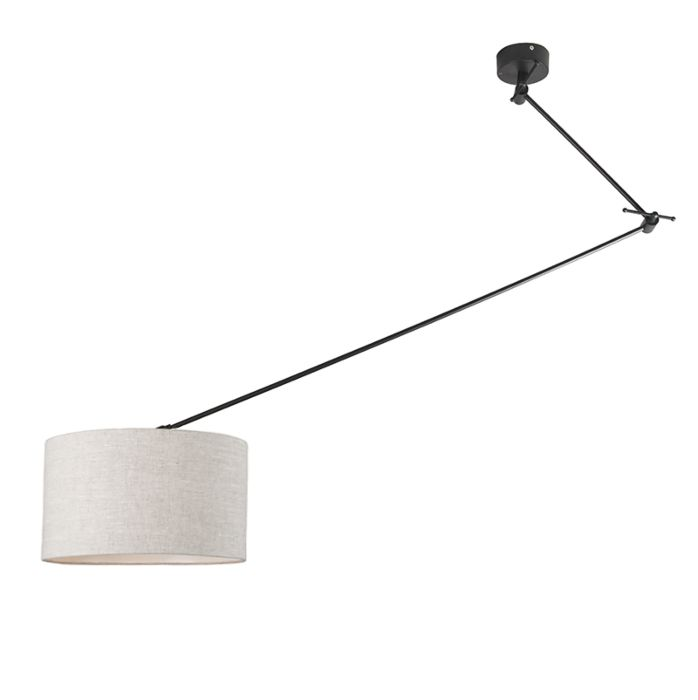 Hanging-lamp-black-with-shade-35-cm-light-gray-adjustable---Blitz-I