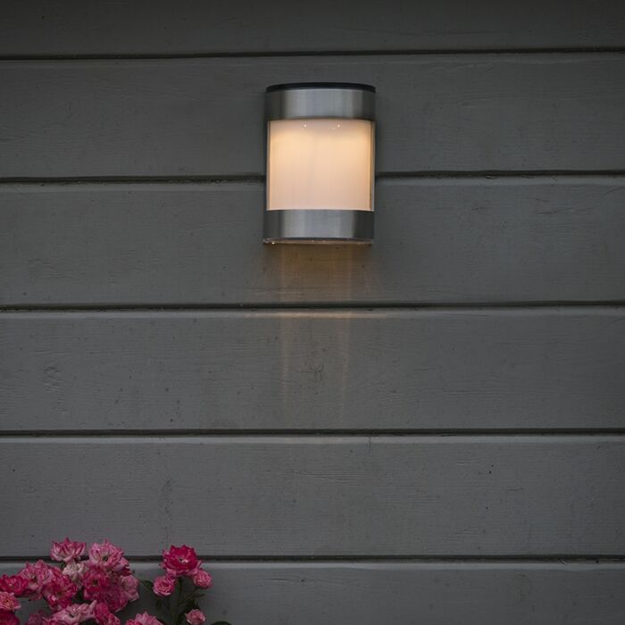 Solar Wall Light Ip44 Steel Incl Led