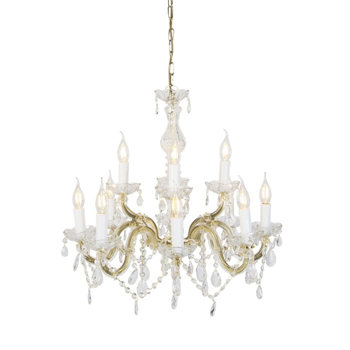 Classic Crystal Chandelier Light 10 Arms Clear Ceiling Light Fixture Lighting