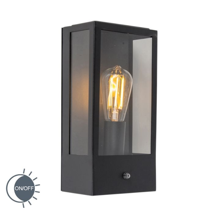 Outdoor-Wall-Lamp-Black-IP44-with-Twilight-Switch---Rotterdam-1