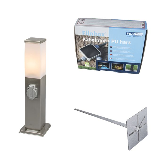 Outdoor-lamp-steel-incl.-Socket-IP44--Malios-with-ground-pin-and-cable-sleeve