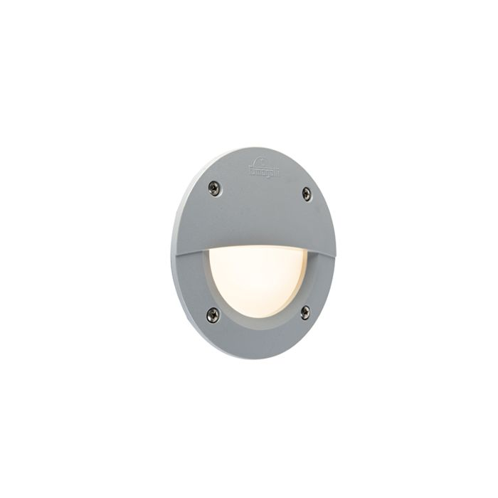 Modern-semi-circular-outdoor-wall-spotlight-gray-incl.-LED-IP65---Leti