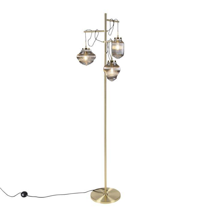 Art Deco Floor Lamp 3 Brass With Smoke Glass Shades Bolsena