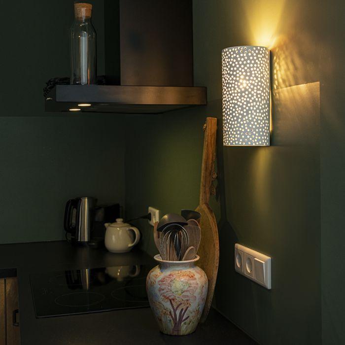 Vintage-Cylinder-Wall-Lamp-White-Plaster/Ceramic---Mahou