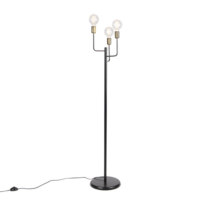 Modern Floor Lamp 3 Black With Gold Facile