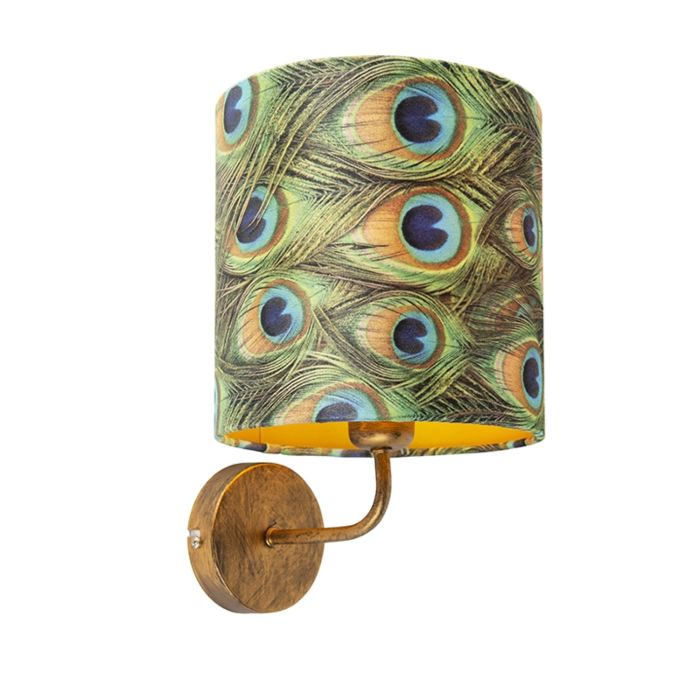 Vintage-Wall-Lamp-Gold-with-Shade-20/20/20-Velvet-Peacock-with-Gold