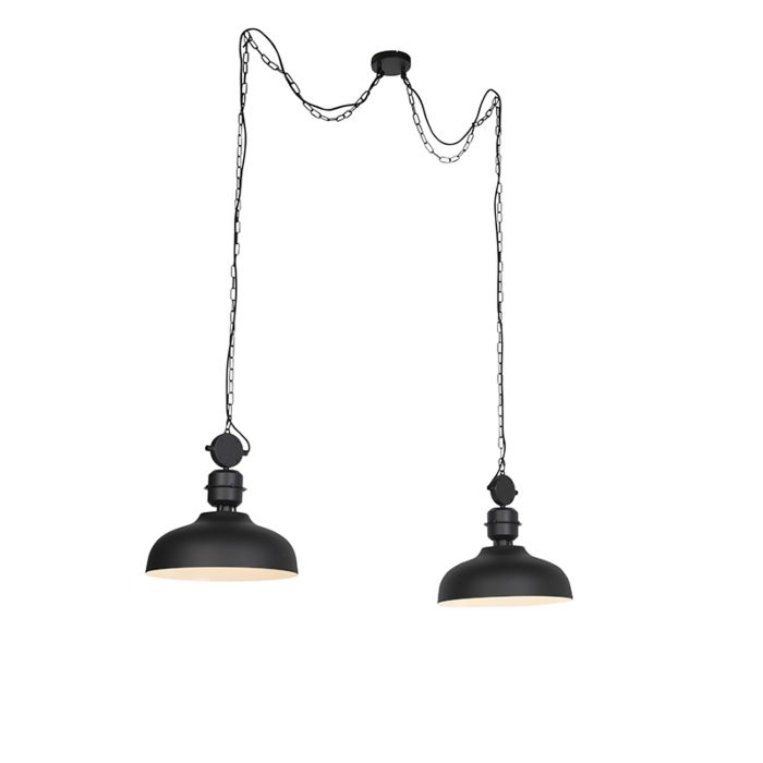 Industrial-hanging-lamp-on-a-chain-black---Sani