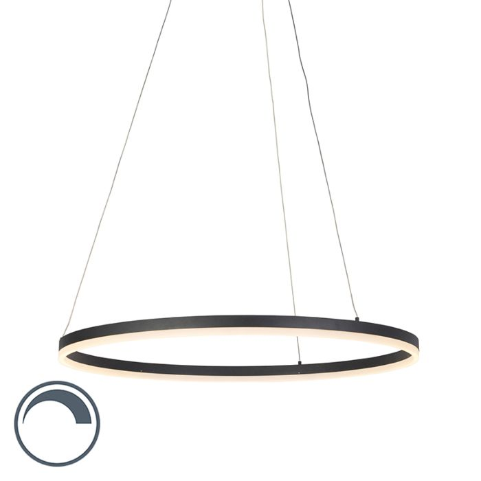 Modern-ring-hanging-lamp-black-80-cm-incl.-LED-and-dimmer---Anello