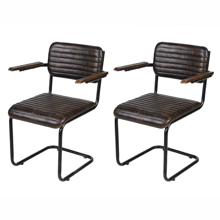 Set-of-2-Leather-Dining-Chairs-with-Iron-legs---Nicosia