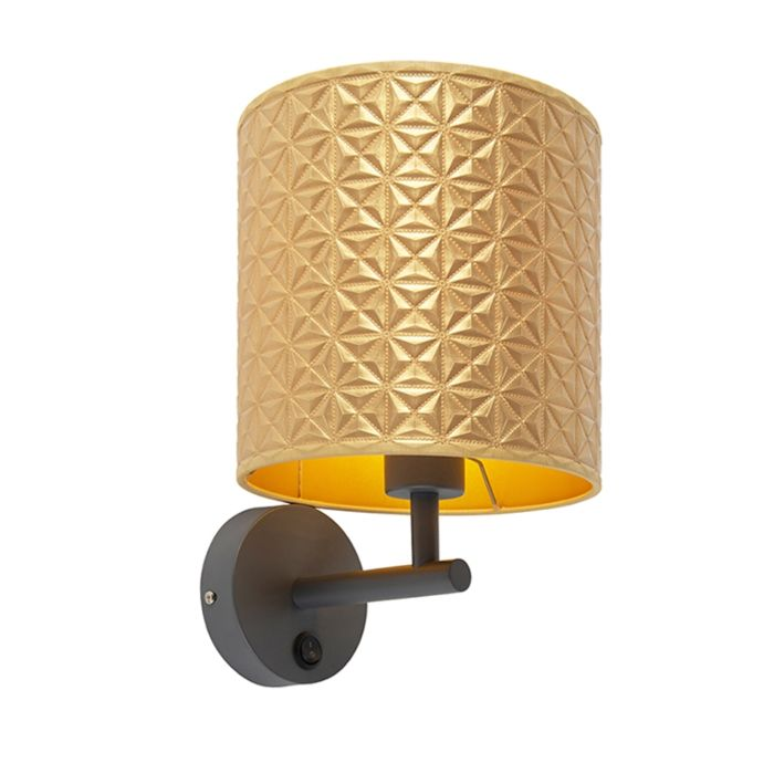 Modern-Wall-Lamp-Dark-Grey-with-Shade-20/20/20-Embossed-Gold