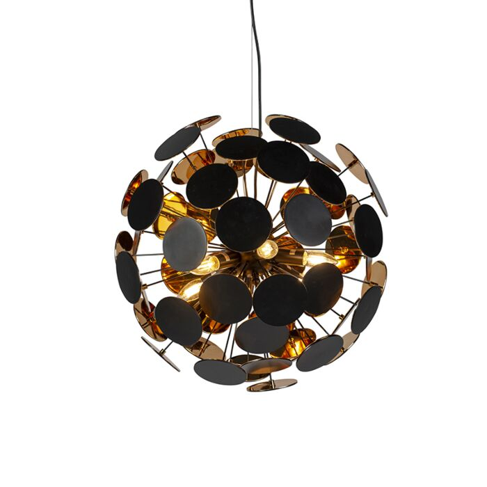 Modern-hanging-lamp-black-with-gold-6-lights---Cerchio
